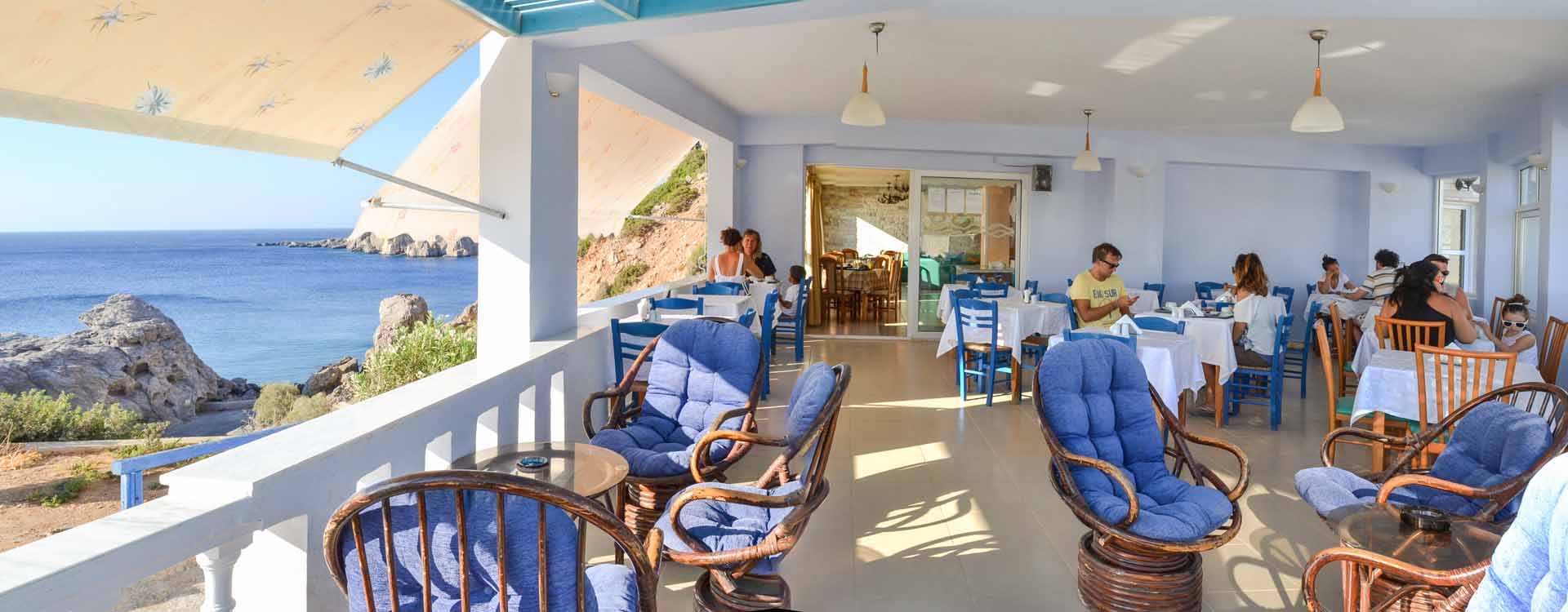 Enjoy breakfast, lunch or dinner in an idyllic landscape of Karpathos island, Greece